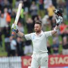 Brendon McCullum celebrates his triple century against India on the fifth day of the second test...