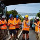 Work crews preparing trenches for the new underground cable powering Dunedin's city centre...