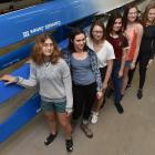 American rowers (from front) Olivia White (17), Mabel Moses (17), Ruta Milewski (18), Ava...