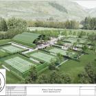 An artist's impression shows Bridesdale Farm Developments Ltd's proposed Winton Tennis Academy,...