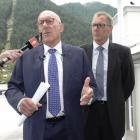 Queenstown Lakes District mayor Jim Boult and council chief executive Mike Theelen announcing the...