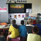 Military researcher Peter den Tek speaks to Alexandra Primary pupils on Friday about some of the...