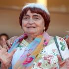"Agnes Varda appears at the screening of the film ""Visages, Villages"" at the Cannes film festival..."