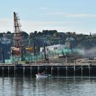 Port Otago's pile driver Rahi Te Toha, up on the Kitchener St slipway for another week. Photo:...