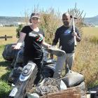 Keep Dunedin Beautiful co-ordinator Allison Wallace and Our Seas Our Future leader Noel Jhinku...