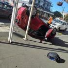 A car rolled in Caversham this afternoon. Photo: Supplied