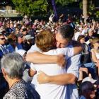 People embrace during a vigil in Hagley Park, Christchurch. Photo: RNZ
