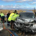 Emergency services at the scene of the crash. Photo: Supplied