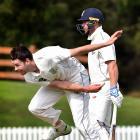 Otago Volts co-captain Jacob Duffy bowls at the University of Otago Oval as Auckland batsman...