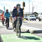 Dunedin North Labour MP David Clark leads a group of cyclists at the official opening of the one...