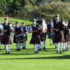 Hokonui Celtic Pipe Band competes in the grade 4a competition yesterday morning. PHOTO: LOUISE...