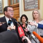 Finance Minister Grant Robertson speaks to media at Parliament in Wellington on Tuesday. Photo:...