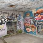 Graffiti in the gun emplacements at Harington Point. PHOTO: GREGOR RICHARDSON