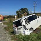 The rental van was extensively damaged in the crash. Photo: Luisa Girao