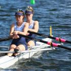 St Hilda's Collegiate duo Millie Davenport (front) and Sophie Smith compete in the under-16 girls...