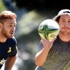 Marty Banks (right) looks to catch the ball at training at Logan Park yesterday. Lock Jack...