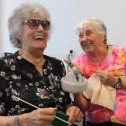 Isabelle Goodare and Helen White are among the Blind Foundation's knitters and will sell their...