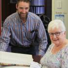 Waitaki District Archives curator of archives Christopher Meech (left) and New Zealand Society of...