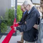 Cutting the ribbon to open the Frankton public library on Saturday were Frankton resident Pat...