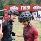 Samara Sheppard and Kyle Ward share a smile at the finish line of the Motatapu on Saturday.PHOTO:...