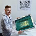 Artist Jay Hutchinson prepares for a 24-hour stint making T-shirts in a ''sweatshop'' he has...