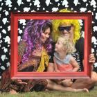 Having fun in the dress-up corner at the Waitati Music Festival are (from left) Cam Lisle, Koha...
