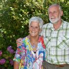 Selwyn and Natalie Yeoman in the garden of the Pine Hill, Dunedin home. Photo: Gregor Richardson