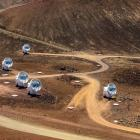 The Submillimetre Array, part of the Event Horizon Telescope network on the summit of Mauna Kea,...