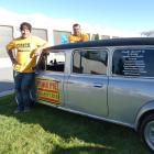 Brothers Willie (left) and Sam Ryburn, of Warkworth, get extra legroom in their ``stretch limo''...