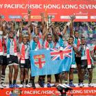 Fiji players celebrate after winning the Hong Kong Sevens tournament. Photo: AP