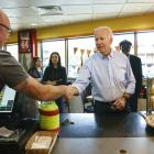 Democratic presidential candidate and former Vice President Joe Biden greets people at Gianni's...