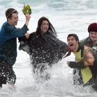 University of Otago students (from left) George MacGill (18) Aneesha Dahya (20), Chris Cook (21)...