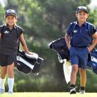 Anahera and Kairangi Koni at Island Park Golf Club yesterday with the tools of their trade. Photo...