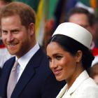 Britain's Prince Harry and Meghan, the Duchess of Sussex leave after the Commonwealth Service at...