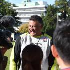 Japan coach Jamie Joseph laughs during a press conference at the North Ground yesterday. Photo:...