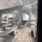 The smashed window of Jamies Jewellers in Queenstown after a Saturday night watch heist. PHOTO:...