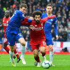 Mohamed Salah on the run for Liverpool as Chelsea's Andreas Christensen tries to cover him at...