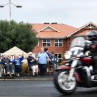 A motorcycle pulls out from Montecillo Veterans Home and Hospital. Photos: Peter McIntosh