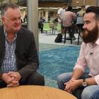 NZX director Nigel Babbage (left) is interviewed by Rory King, president of the Otago Finance and...