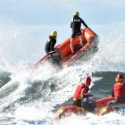 St Kilda open women's mass rescue team Natalie Ashton (left) and Sarah Thomas charge through the...