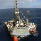 The rig Ocean Patriot, the second-last rig seen off the coast of Oamaru, test drilling in 2006....