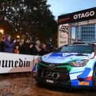 New Zealand's top rally driver, Hayden Paddon, and co-driver John Kennard leave the starting gate...