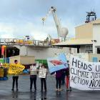 Oil Free Otago protesters at Fryatt St in Dunedin in 2015 during the visit of the hydrographic...