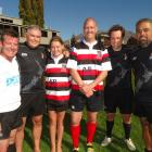 Having a breather after a charity rugby match in Queenstown on Saturday are (from left) MPs...