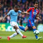 Raheem Sterling scores for Manchester City in its win over Crystal Palace this morning. Photo:...