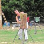 Waiuku Axemen's Club member Jesse Whitehead, of Taranaki, competes in the standing block heats....