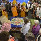 Tibetan Buddhist religious teachers Geshe Lobsang Dhonyoe, of Dunedin (right), and Geshe Nyima...