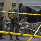 Sri Lankan military stand guard near the explosion site at a church in Batticaloa. Photo: Reuters