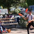 Colombian acrobat Jair Ramirez drew crowds to his performance outside Kai Whakapai on Saturday....