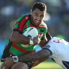 Alex Johnston of the Rabbitohs is tackled during the round five NRL match between the South...